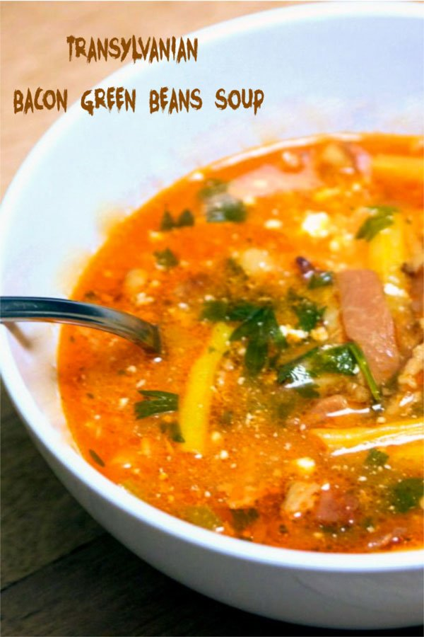 green beans soup- Pinterest featured picture- bowl of soup with spoon