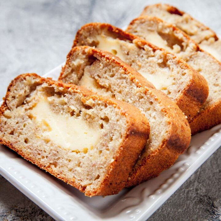 Cream Cheese Banana Bread slices square photo0