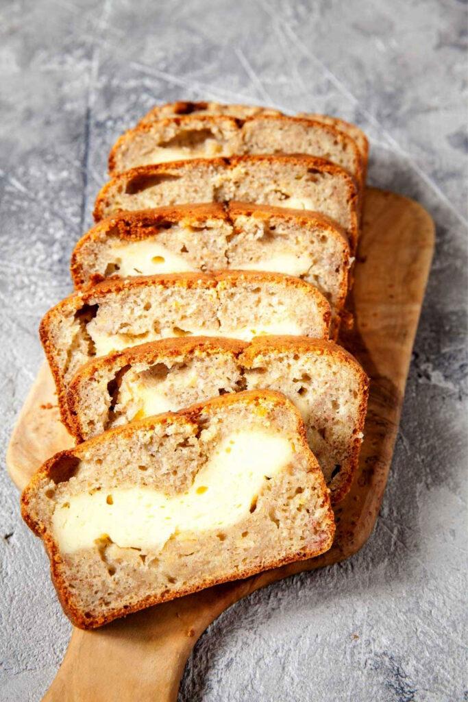 Cream Cheese Banana Bread slices0