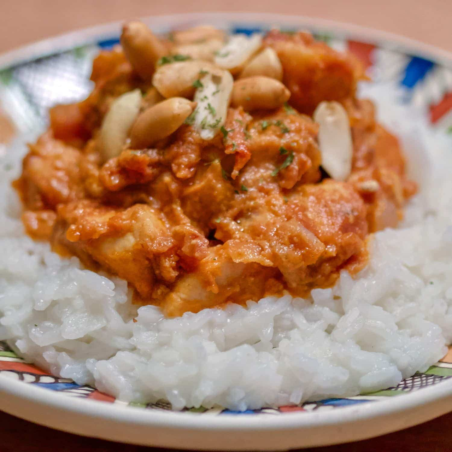 This easy peanut butter chicken recipe is inspired from the African cuisine. The recipe works with any kind of chicken. If you have only raw chicken, fry it first. If you have left over chicken, roasted or just cooked, works perfect too as it will save some time. It is an excellent dish for a quick dinner.