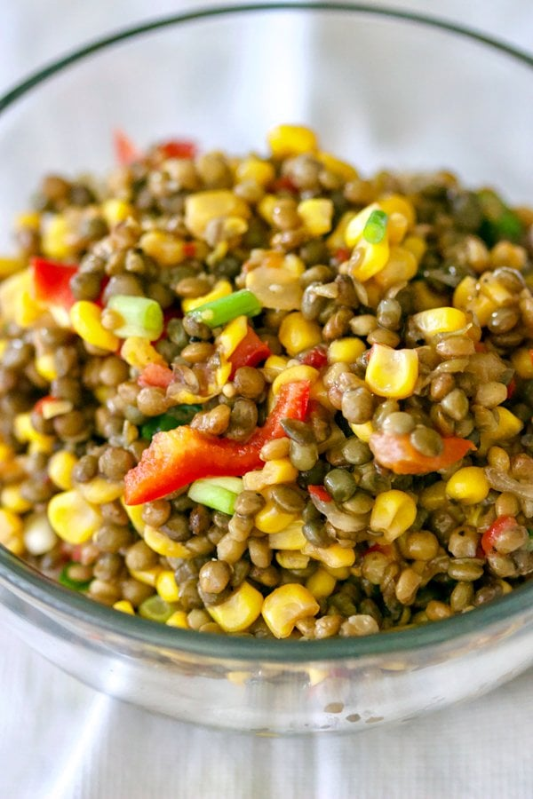 This Lentils Corn And Pepper Salad is a refreshing, healthy, colorful and easy to make recipe that can be served by itself or next to grilled salmon.