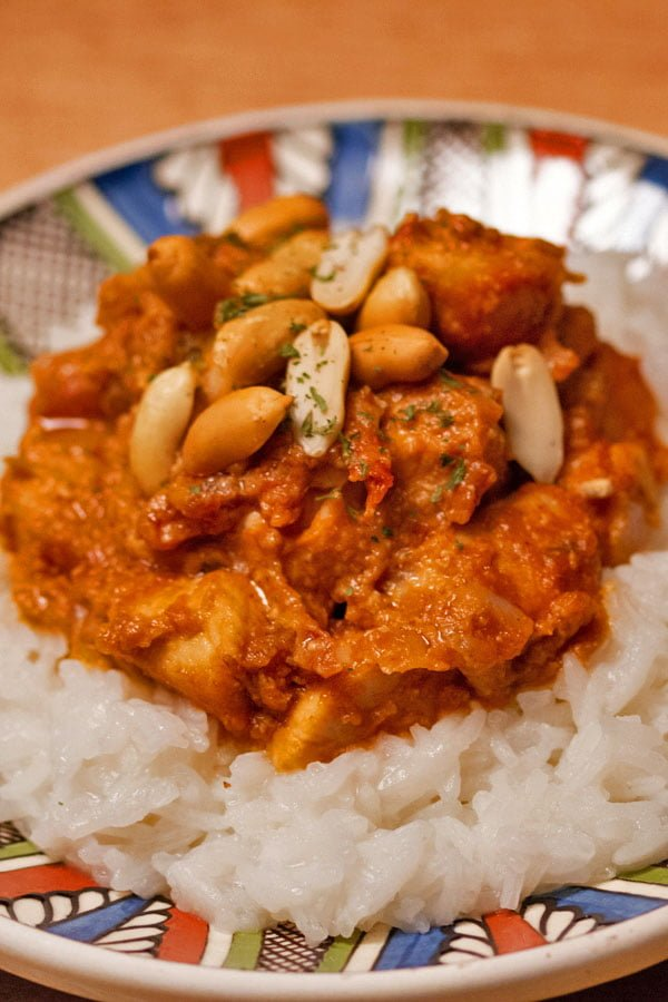 peanut butter chicken on rice