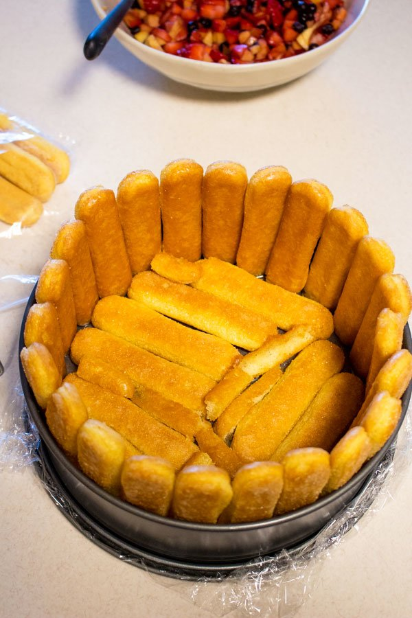 Charlotte Ruse Cake- lady fingers sitting in a cake pan