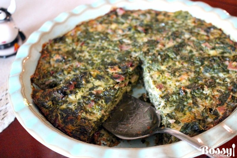 Crustless Spinach With Smoked Meat And Gouda Cheese Quiche1