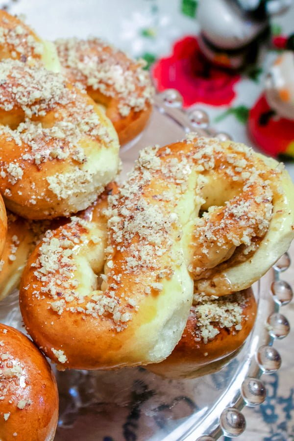 Mucenici- a traditional Romanian honey and walnuts pastry - on a platter