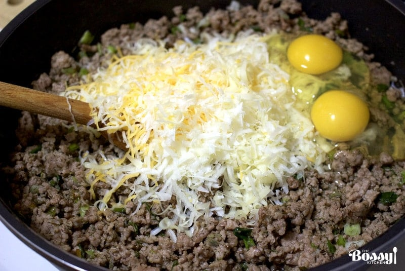 cooled ground meat with added eggs and cheese