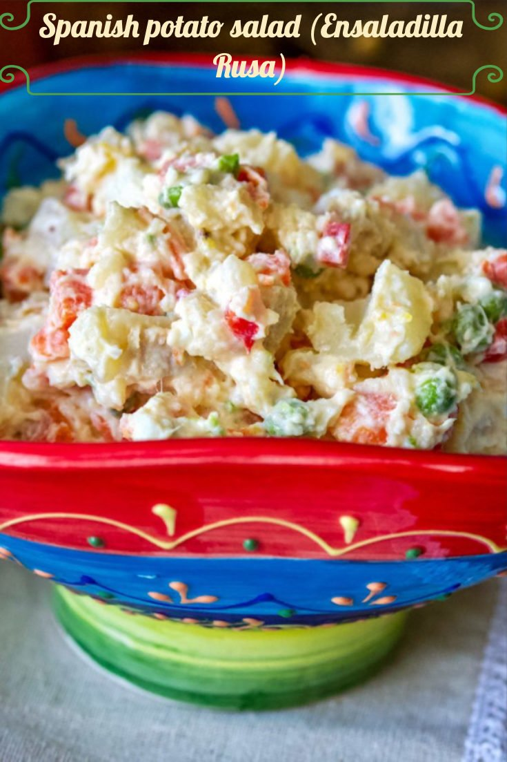 Spanish potato salad (Ensaladilla Rusa) is a Spanish favorite recipe made with potatoes, carrots, boiled eggs, cooked peas, tuna and mayonnaise. Delicious! #ensaladillarusa #Spanishcuisine #Spanishsalad #appetizers #easyrecipes #salads