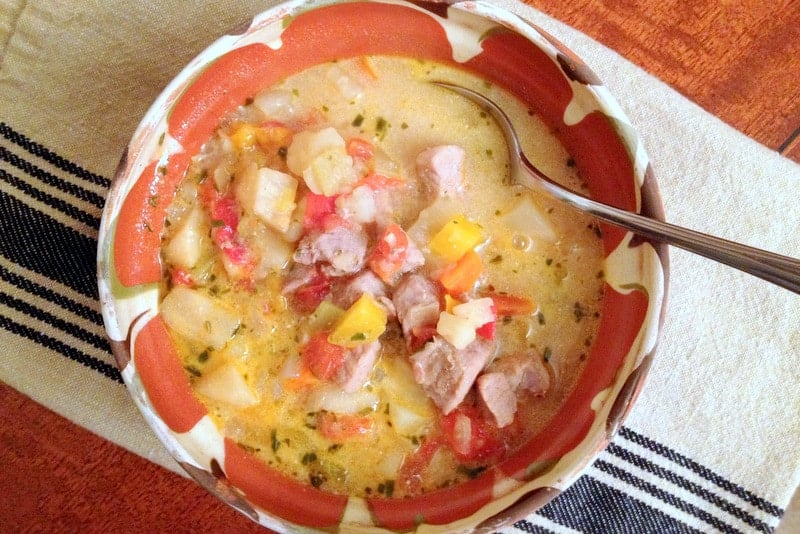 Traditional Romanian Pork Soup with Vegetables1