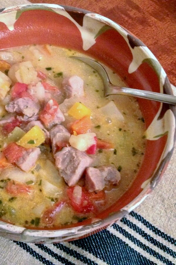This Traditional Romanian Sour Soup with Pork and Vegetable is a recipe that uses a variety of vegetables, pork, sour cream and vinegar.