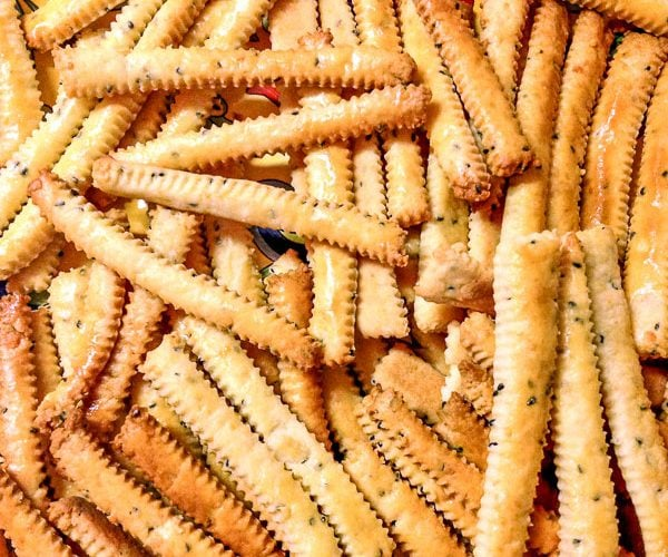 Cheddar Cheese Straws With Black Caraway Seeds