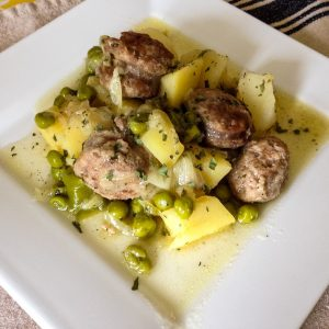 Andouille Sausages with Peas Potatoes and Leeks