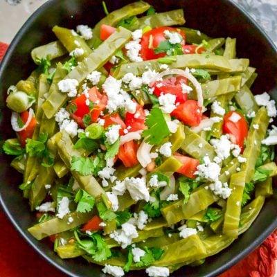 Authentic Mexican Cactus Leaves Salad (Ensalada De Nopales)