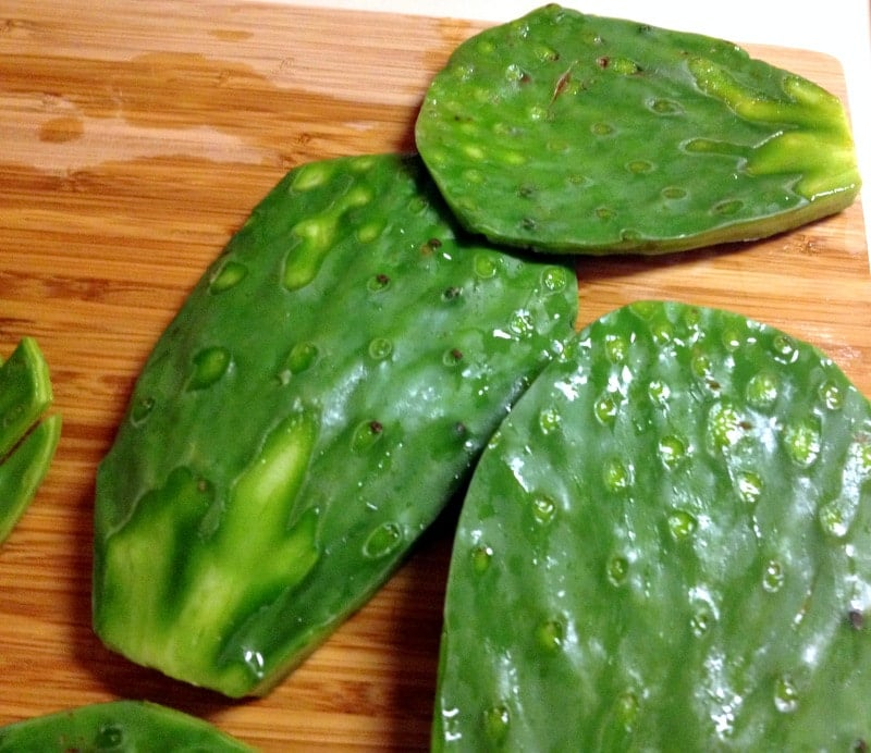 This is an authentic Mexican cactus leaves salad (ensalada de nopales), a very refreshing salad for the summer that goes well with grilled meats, in tacos, with scrambled eggs, burritos or stews. Healthy and easy to make, this recipe will bring joy at the table.