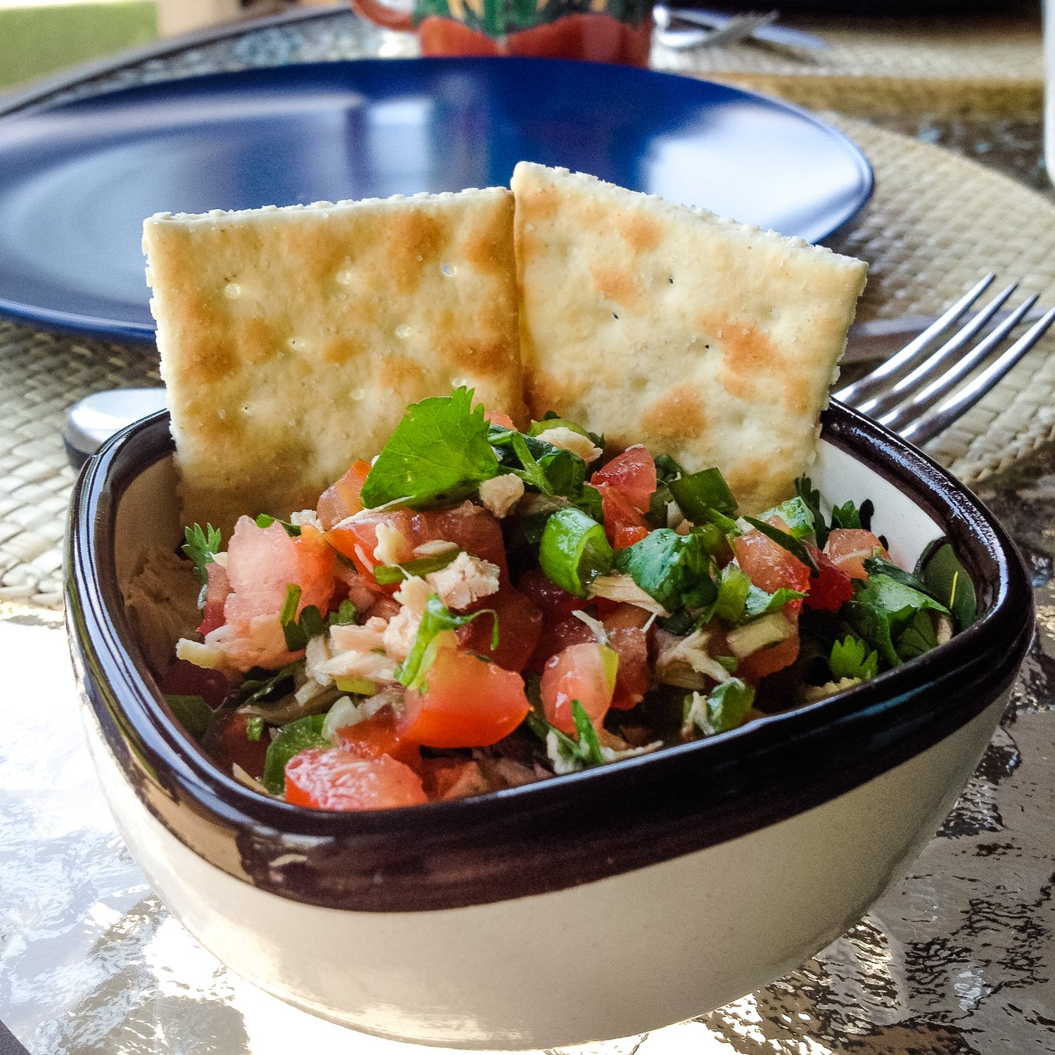 This Authentic Mexican Pico De Gallo With Tuna is a wonderful traditional recipe that I am very fond of. It is a light, refreshing and delicious salsa and I am sure you will enjoy very much. In Mexico, this recipe is served with saltinesas chips are not very popular, but you can definitely have corn tortilla chips instead.