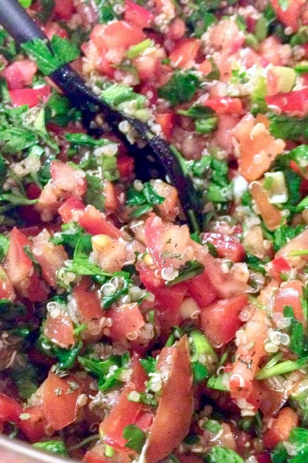 This quinoa tabbouleh salad uses beautiful, fresh ingredients that are easy to put together. Delicious and also gluten free.