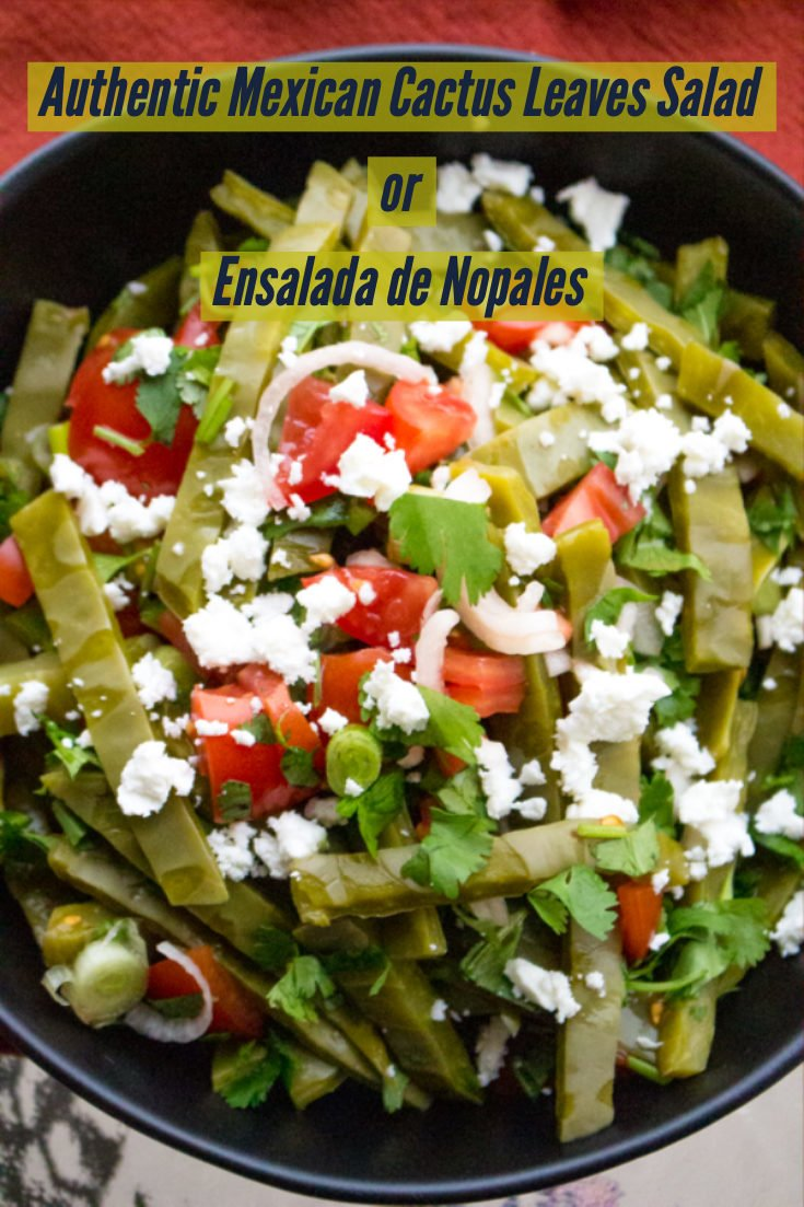This is an authentic Mexican cactus leaves salad (ensalada de nopales), a very refreshing salad for the summer that goes well with grilled meats, in tacos, with scrambled eggs, burritos or stews. Healthy and easy to make, this recipe will bring joy at the table. #nopales #salad #Mexicancuisine #cactusleaves #easyrecipes