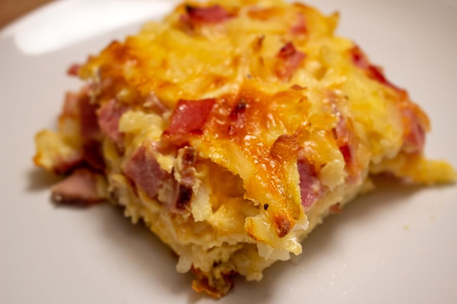 Cheesy Ham Hash Brown Egg Casserole- serving of the dish - close up