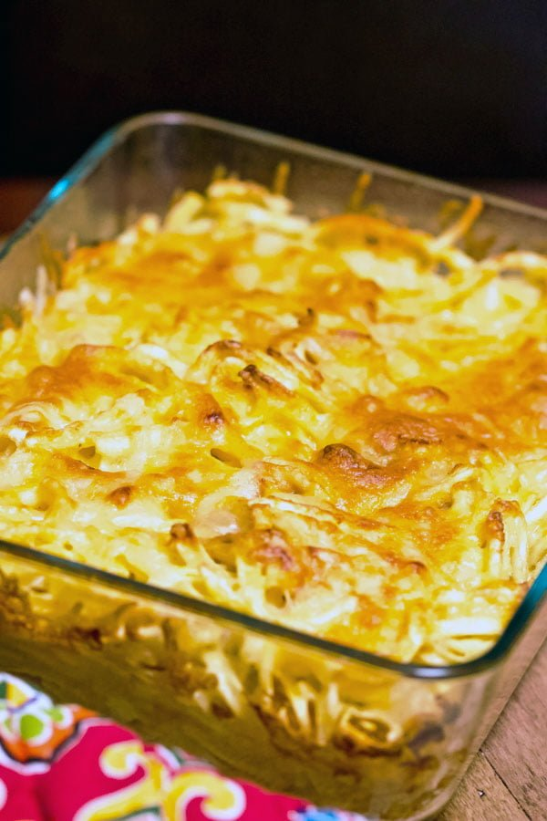 Baked cheesy German Spaetzle pasta with caramelized onion