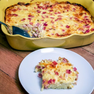 Cheesy Ham Hash Brown Egg Casserole