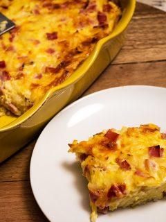 Cheesy Ham Hash Brown Egg Casserole 1