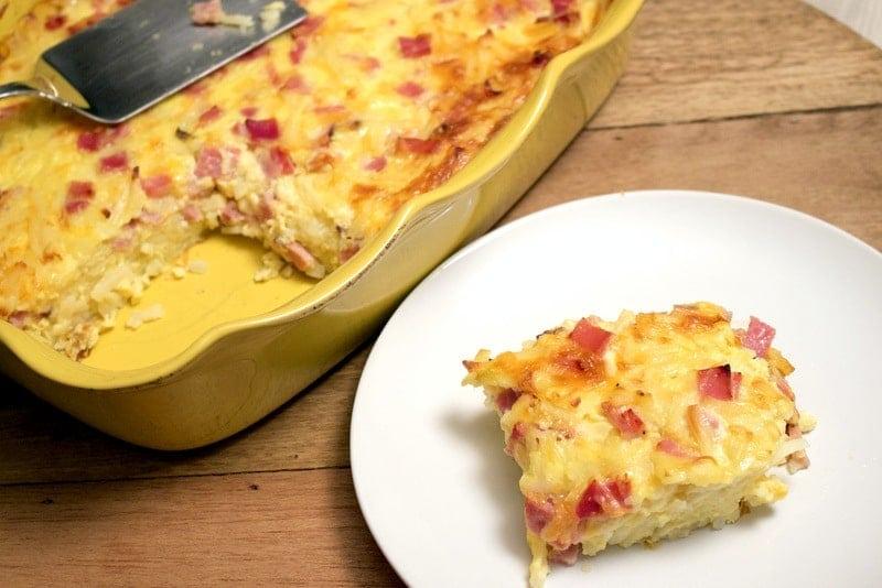 Cheesy Ham Hash Brown Egg Casserole4