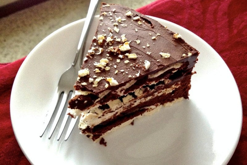 Classic European chocolate ganache meringue torte- slice of cake on white plate with fork