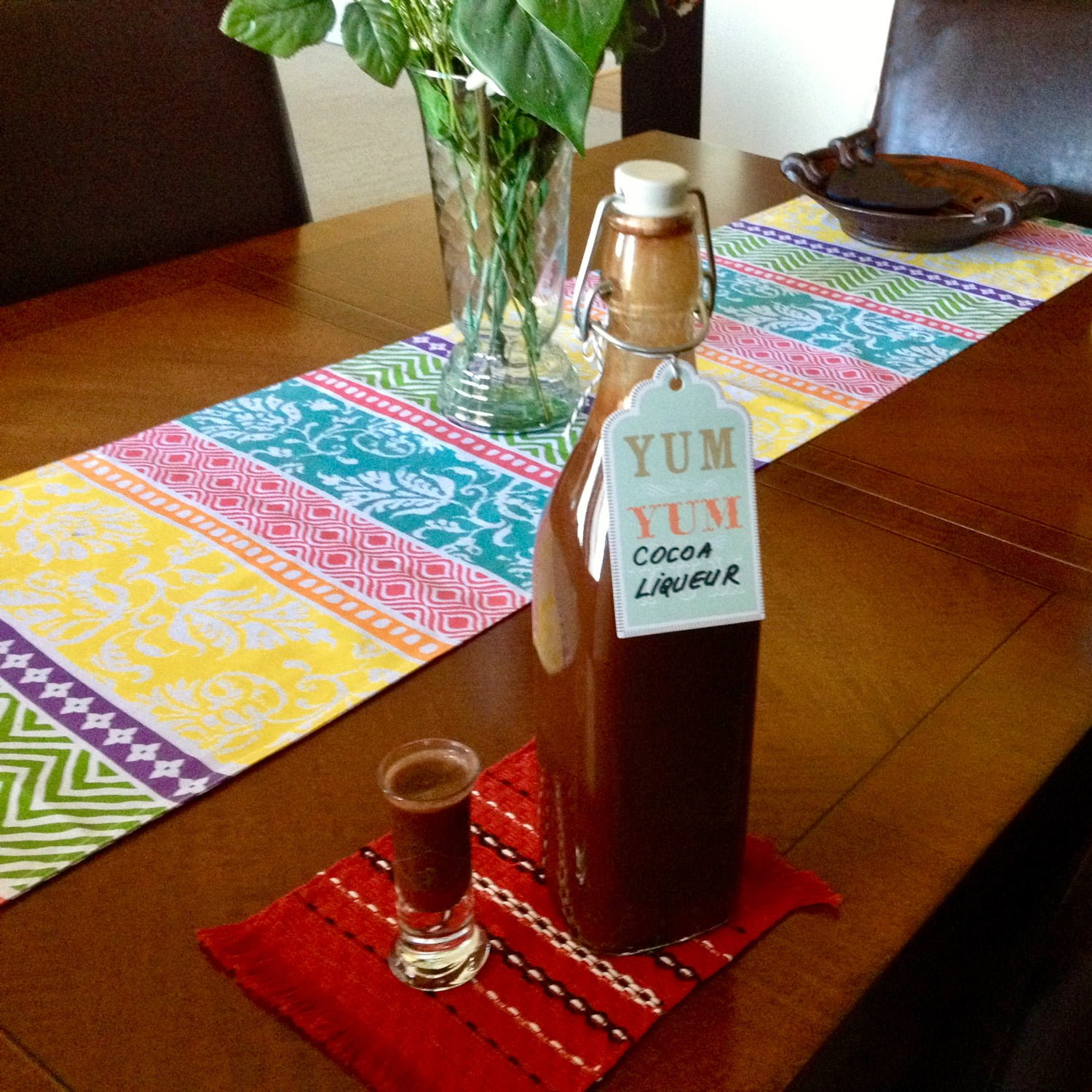 chocolate liqueurin a bottle on a dining table