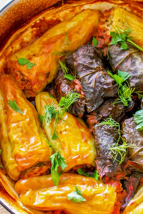 Romanian Stuffed Peppers Ardei Umpluti- close up