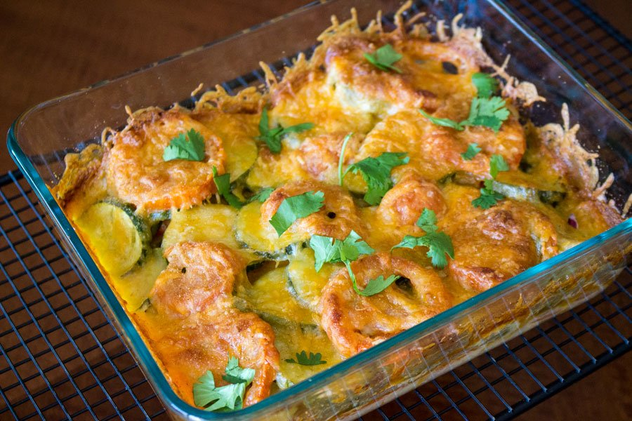 Baked zucchini tomato and mozzarella casserole- in a glass baking pan