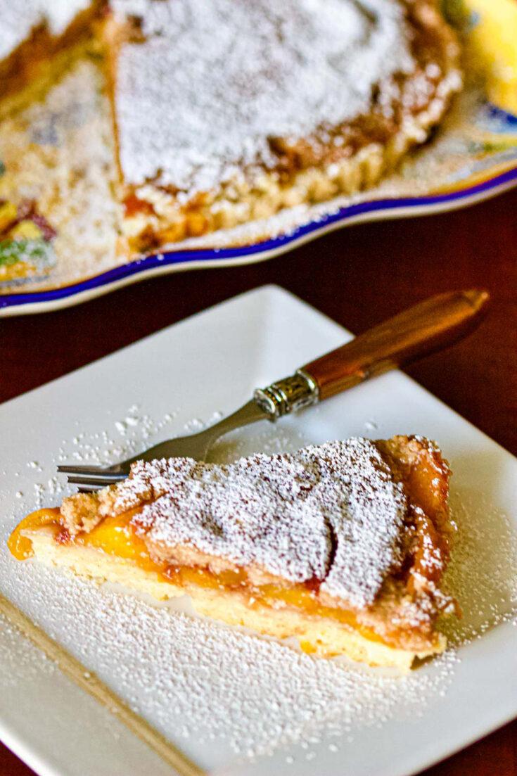 Best Peach Kuchen slice on white plate Pinterest0