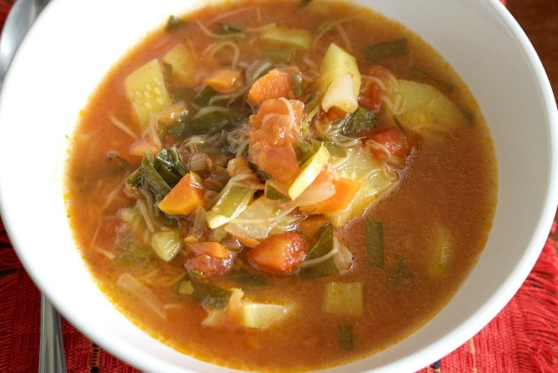 Tomato and Zucchini Summer Soup is a great dish for the hot weather. It can be served warm or cold and it is also great for vegans and vegetarians.