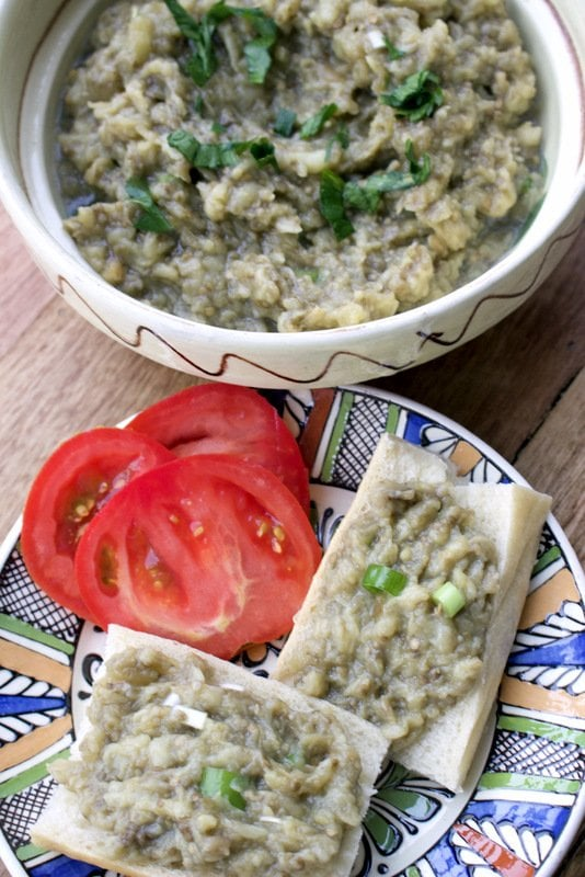 Roasted Eggplant Salad- Romanian Style is a delicious summer salad that can be served on fresh bread with tomatoes and sometimes Feta cheese.