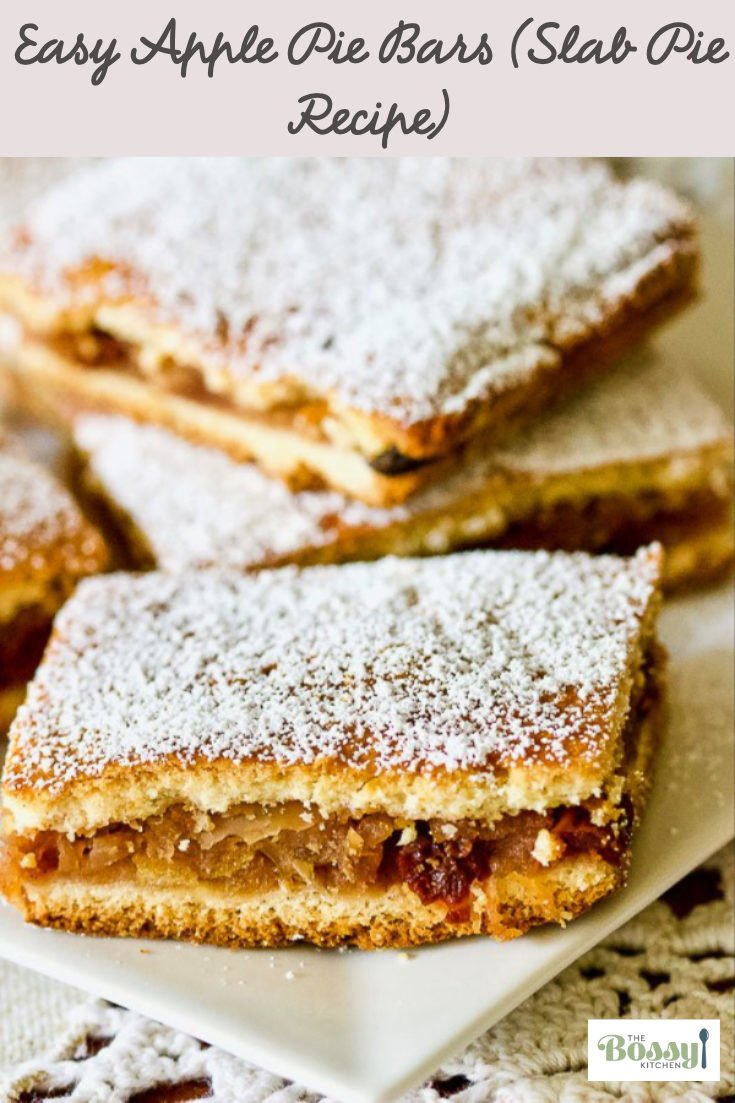 Easy Apple Pie Bars (Slab Pie Recipe) is a traditional dessert from Transylvania, Romania, baked in a jelly roll pan, cut in squares and dusted with powder sugar. #applepiebars #applepie #applepieslab #appledesserts #easyapplepie #bestapplepie