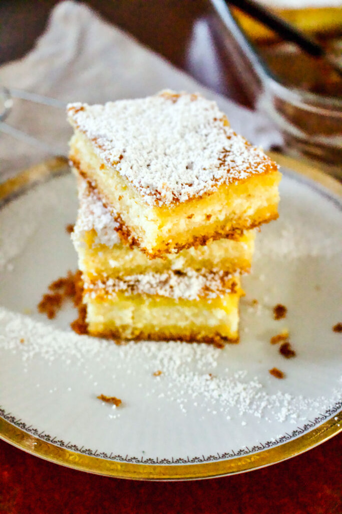 Lemon Ricotta Cheese Cake slices stacked0
