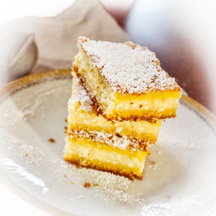 Lemon Ricotta Cheese Cake three slices stacked0