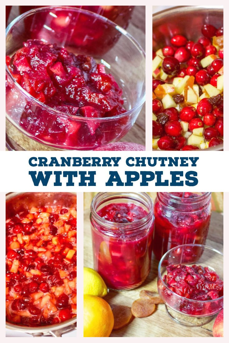 This Cranberry Chutney with Apples could be a delicious addition to every year Thanksgiving celebration. The combination of raisins, apples, dried apricots, orange juice and ginger is a symphony of flavors that will win your heart. If you try this recipe you will never buy the cans of cranberries again. #cranberries #Thanksgiving