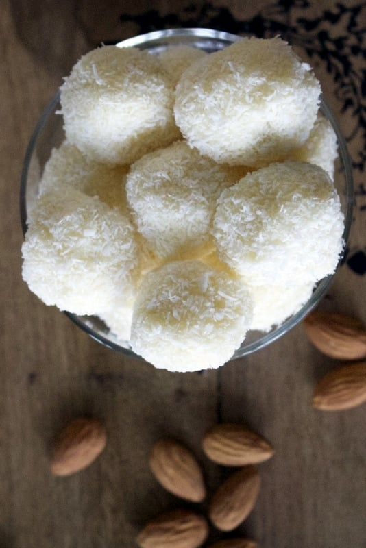 This is a homemade Raffaello Coconut Almond Confections recipe, a very popular snack in Europe. Super easy to make and delicious.