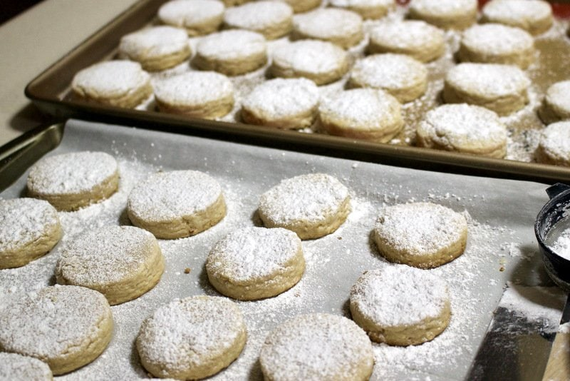 Spanish Christmas cookies powdered with sugar