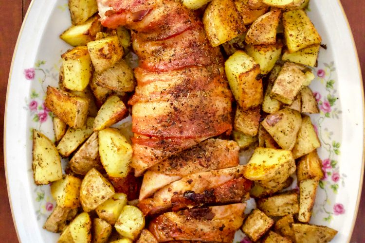 Roasted Bacon Wrapped Pork Tenderloin