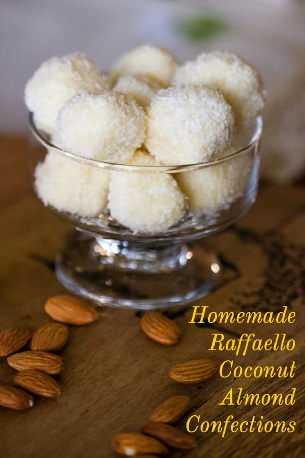 Homemade Raffaello Coconut and Almonds Confections- featured picture for Pinterest
