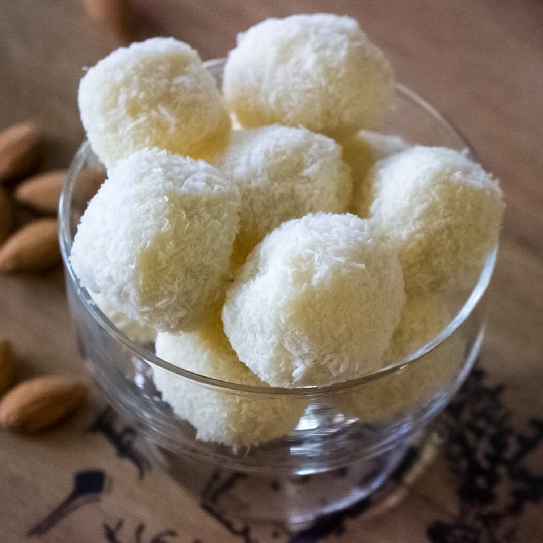 Homemade Raffaello Coconut and Almonds Confections- in a bowl- overhead picture