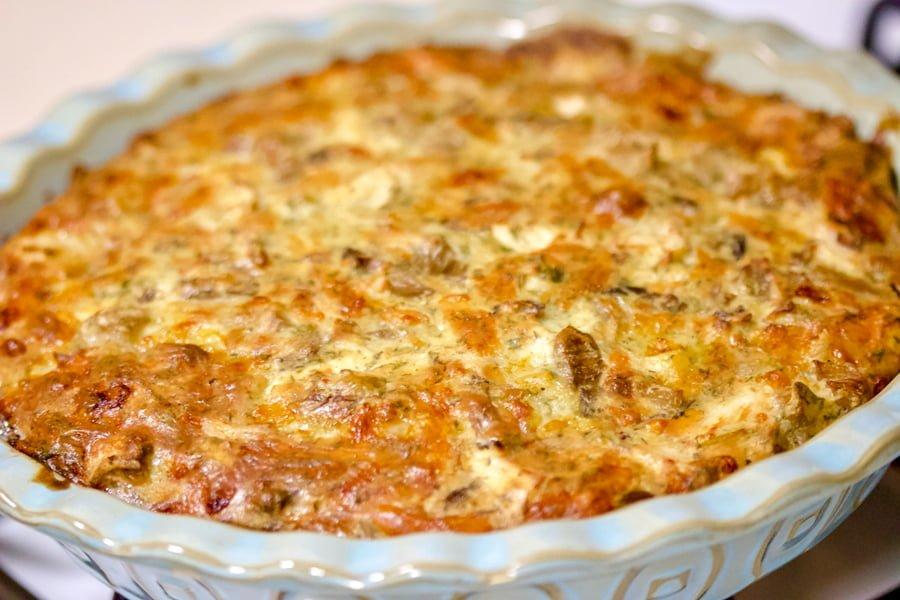 Cheesy Turkey and Mushroom Pie-in a blue baking dish