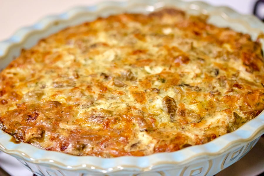 Cheesy Turkey and Mushroom Pie- is a great dish to reuse the turkey or chicken leftovers after the holidays. Easy to make, this recipe is truly comforting.