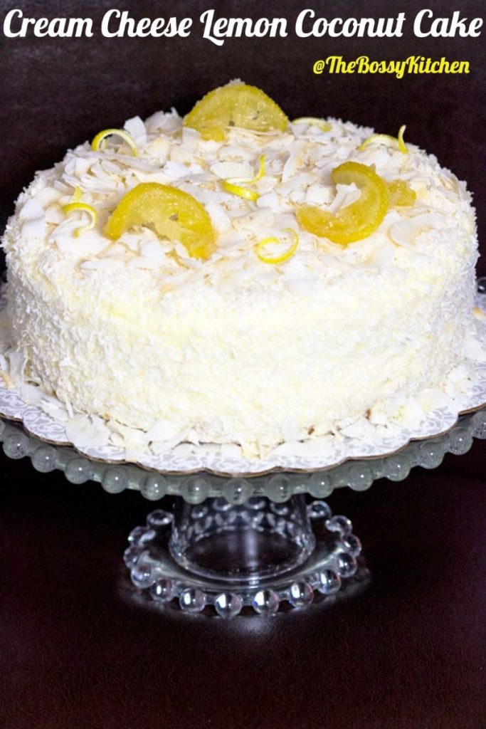 Cream Cheese Lemon Coconut Cake - Pinterest featured picture