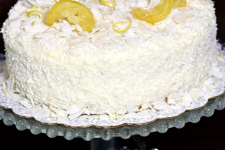 Cream Cheese Lemon Coconut Cake