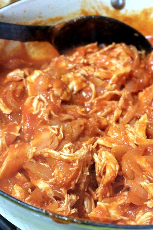 AUTHENTIC MEXICAN TINGA DE POLLO OR CHICKEN IN CHIPOTLE TOMATO SAUCE