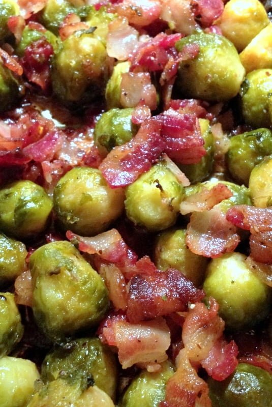 Oven roasted Brussels sprouts with bacon is an easy recipe that can be made for any day of the week. It is also a great recipe for the holidays.