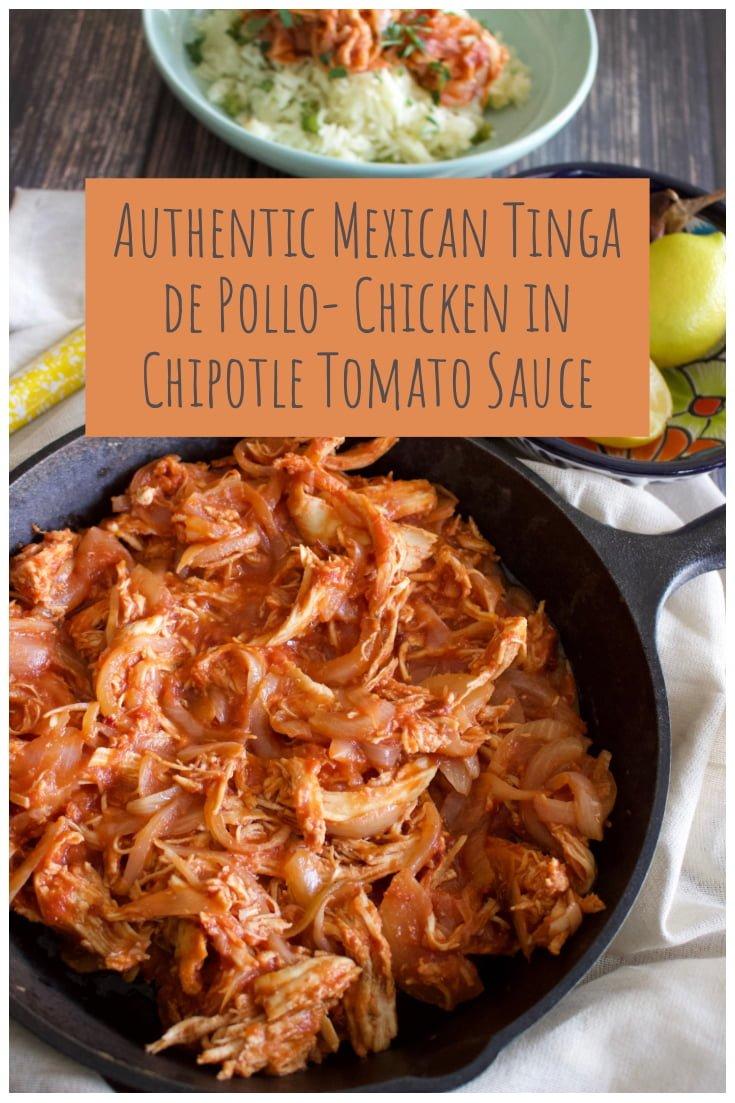 Authentic MExican Tinga De Pollo Chicken in Tomato Sauce- Pinterest picture