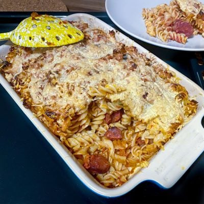 Cheesy Chorizo and Tomato Baked Pasta