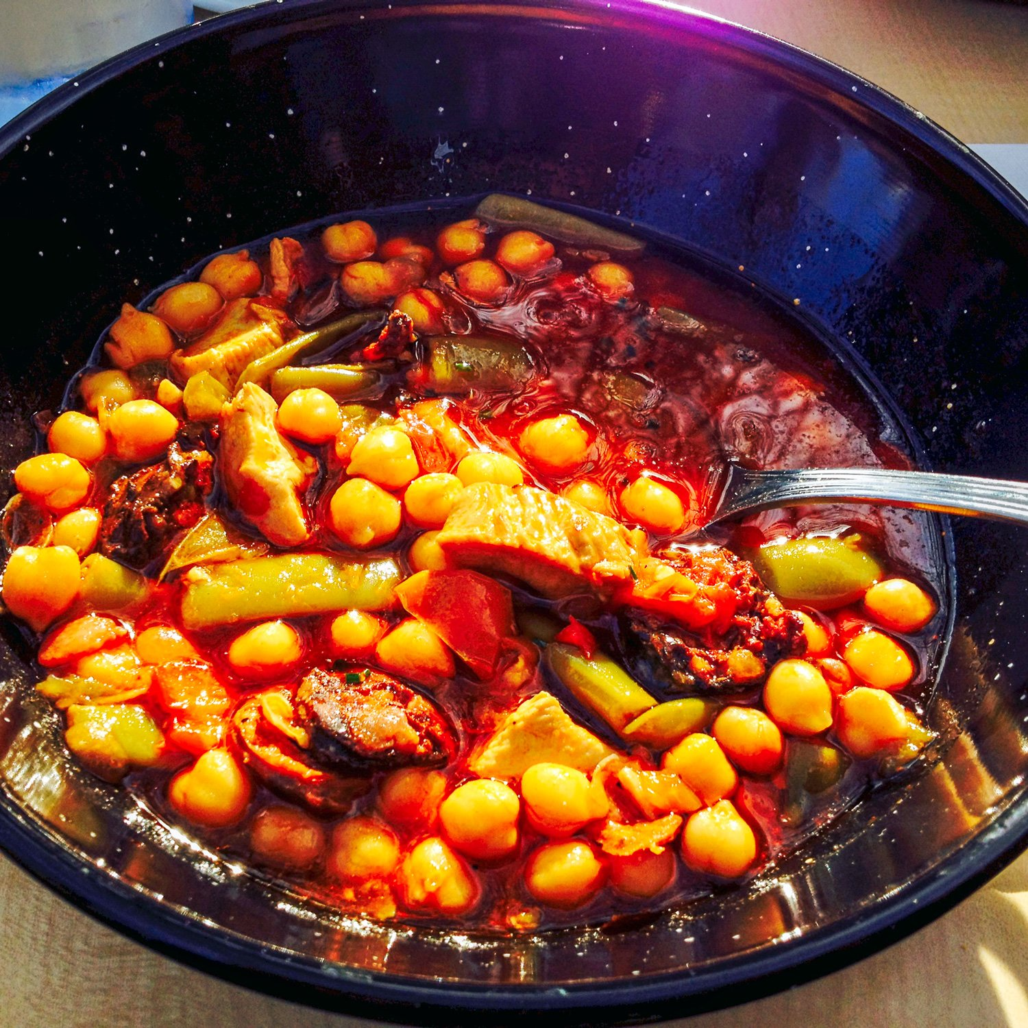 Chickpeas Green Beans With Pork And Spanish Chorizo - a heart-warming dish from Spain. Chickpeas are popular in most parts of Spain and chorizo is a staple. Use Spanish paprika and Spanish chorizo for a more authentic flavor.